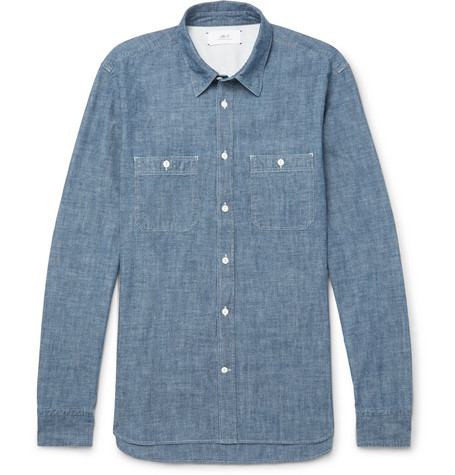 Mr P. - Selvedge Cotton-Chambray Shirt - Men - Blue