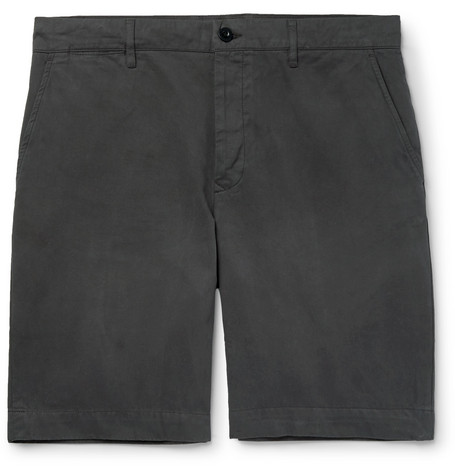 Mr P. - Slim-Fit Garment-Dyed Peached Cotton-Twill Bermuda Shorts - Men - Black