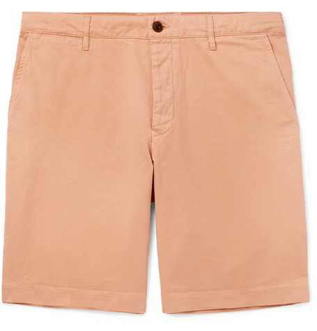 Mr P. - Slim-Fit Garment-Dyed Peached Cotton-Twill Bermuda Shorts - Men - Pink