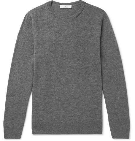 Mr P. - Slim-Fit Merino Wool Sweater - Men - Gray