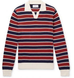 Mr P. - Striped Knitted Cotton Polo Shirt - Men - Brick