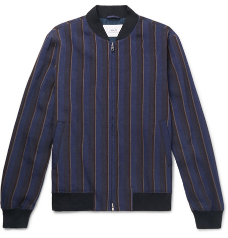 Mr P. - Striped Linen-Blend Bomber Jacket - Men - Blue
