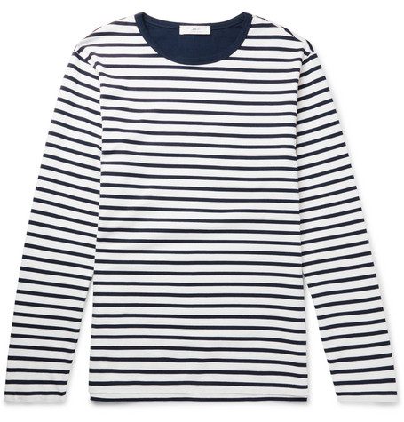 Mr P. - Striped Long-Sleeved Cotton-Jersey T-Shirt - Men - Navy