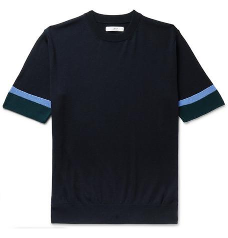 Mr P. - Striped Merino Wool T-Shirt - Men - Navy