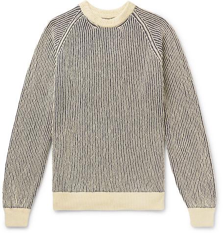 Mr P. - Striped Ribbed Cotton-Blend Sweater - Men - Ecru