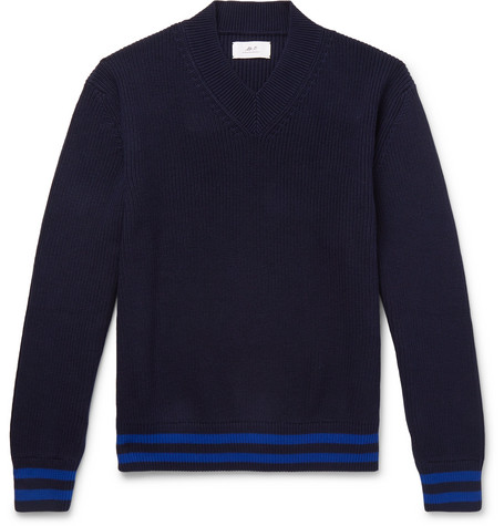 Mr P. - Striped Ribbed Cotton Sweater - Men - Navy