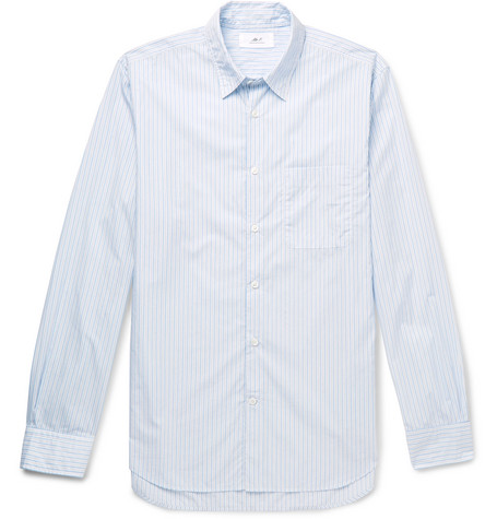 Mr P. - Striped cotton-poplin shirt - Men - Blue