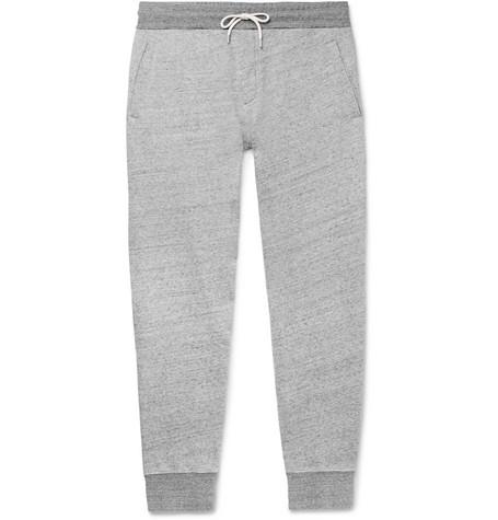 Mr P. - Tapered Mélange Loopback Cotton-Jersey Sweatpants - Men - Gray