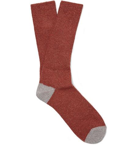 Mr P. - Two-Tone Mélange Cotton-Blend Socks - Men - Red