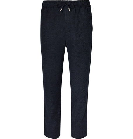 Mr P. - Wide-Leg Virgin Wool-Blend Bouclé Drawstring Trousers - Men - Navy