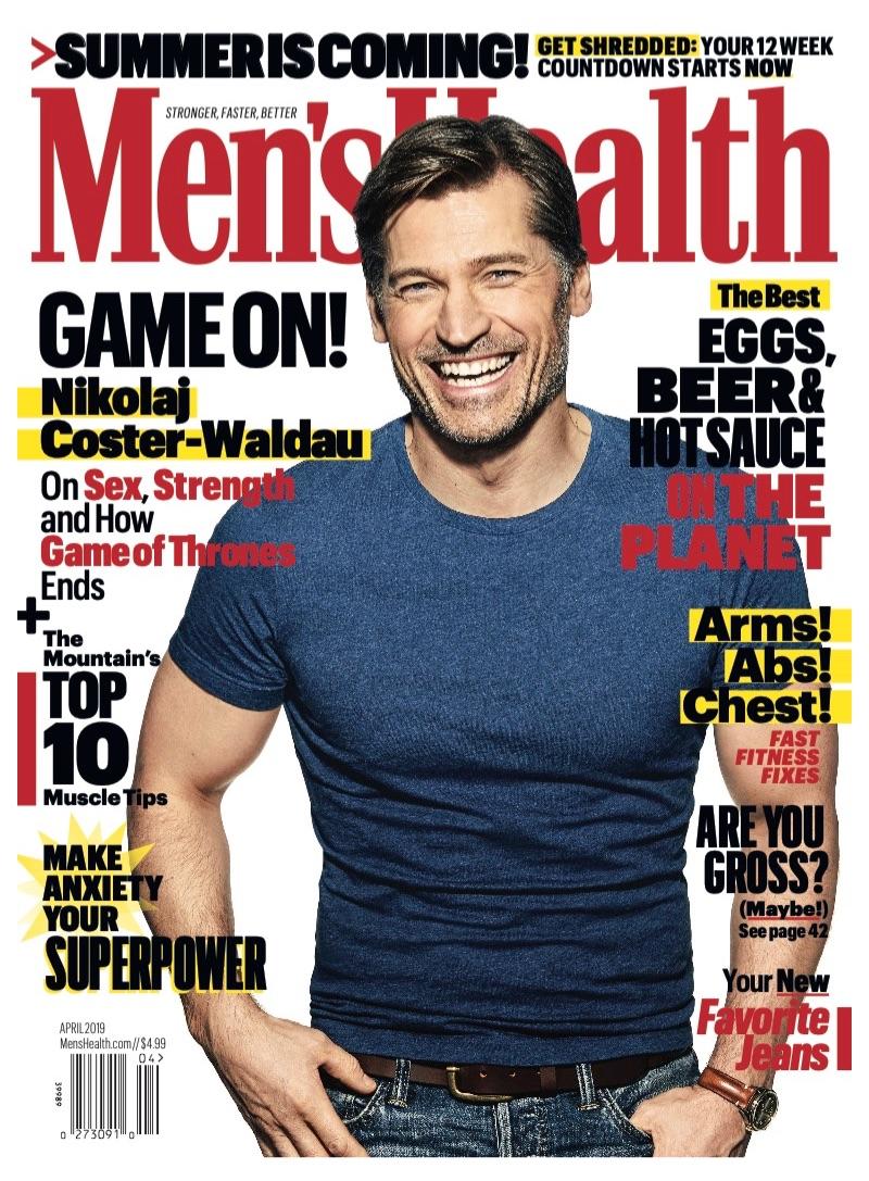 Nikolaj Coster-Waldau covers the April 2019 issue of Men's Health.