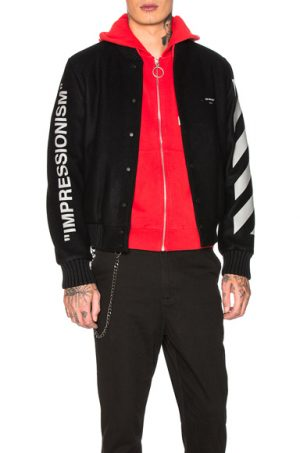 OFF-WHITE Diagonal Green Man Varsity Jacket. - size XL (also in L,M,S)