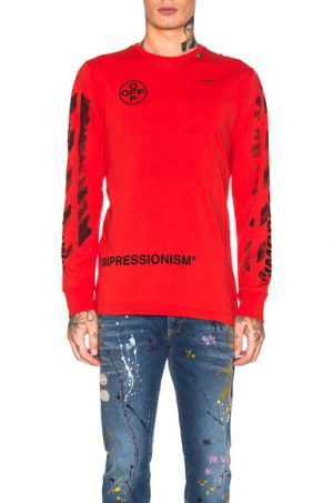 OFF-WHITE Diagonal Stencil Longsleeve Tee in Red. - size M (also in L,S,XL)