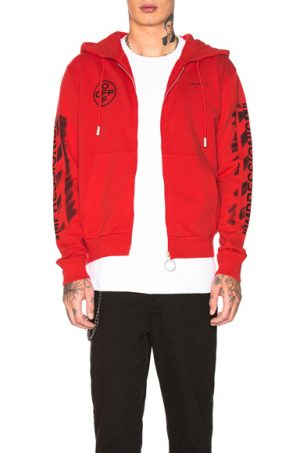 OFF-WHITE Diagonal Stencil Zip Hoodie in Red. - size L (also in M,S,XL)