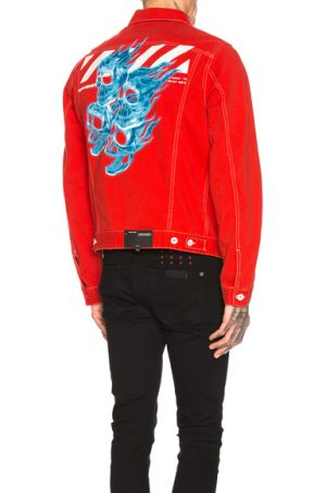 OFF-WHITE Slim Denim Jacket in Red. - size L (also in )
