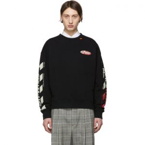 Off-White Black and Red Diag Logo Sweeatshirt