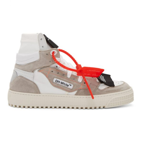 Off-White White and Grey Low 3.0 Off Court High-Top Sneakers