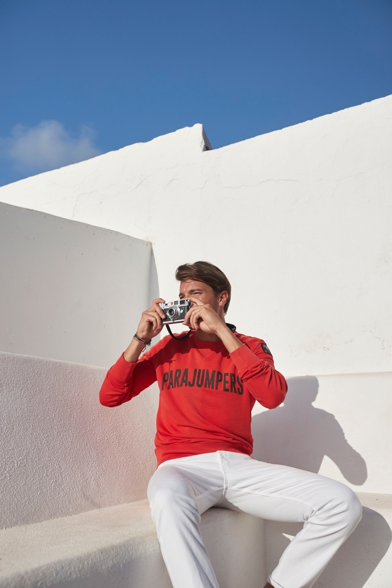 Sporting a Parajumpers sweatshirt, Yannick Hansen explores his surroundings.