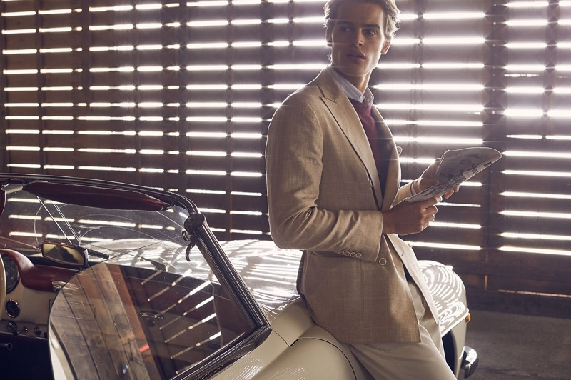 Embracing neutral tones, Parker van Noord dons a look from Brunello Cucinelli.
