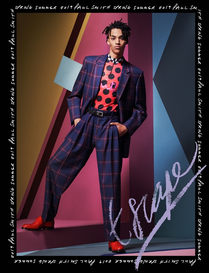 Tristan Cole makes a bold statement in a colorful suit for Paul Smith's spring-summer 2019 campaign.
