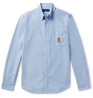 Polo Ralph Lauren - Button-Down Collar Embroidered Cotton Oxford Shirt - Men - Light blue