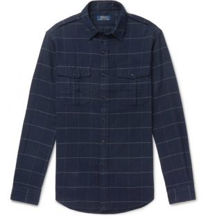 Polo Ralph Lauren - Checked Brushed Cotton-Flannel Overshirt - Men - Blue