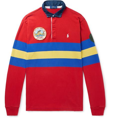 b6145d78629 Polo Ralph Lauren – Logo-Embroidered Appliquéd Striped Jersey Polo Shirt –  Men – Red