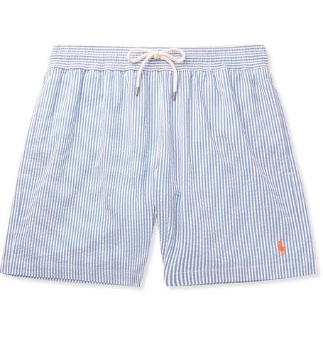 08ca5c7e05 Polo Ralph Lauren – Mid-Length Striped Cotton-Blend Seersucker Swim Shorts  – Men – Blue