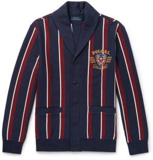 Polo Ralph Lauren - Shawl-Collar Embroidered Striped Cotton-Blend Jersey Cardigan - Men - Navy