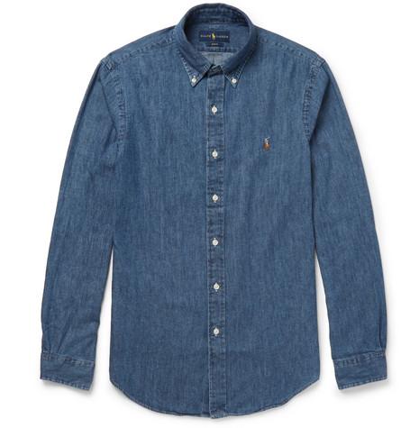 Polo Ralph Lauren - Slim-Fit Button-Down Collar Washed-Denim Shirt - Men - Mid denim