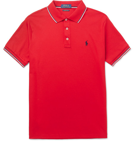 Polo Ralph Lauren - Slim-Fit Contrast-Tipped Cotton-Jersey Polo Shirt - Men - Red