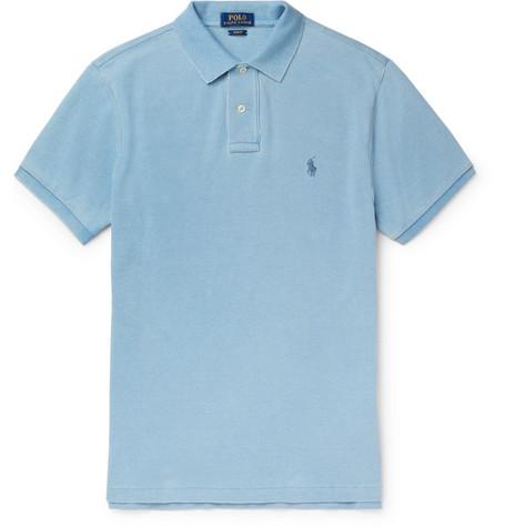 8b2696eba7 Polo Ralph Lauren – Slim-Fit Cotton-Piqué Polo Shirt – Men – Sky blue