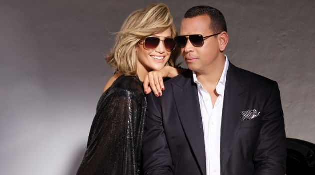 Dressed in black, Jennifer Lopez and Alex Rodriguez star in Quay Australia's new eyewear campaign.