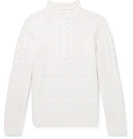 Ralph Lauren Purple Label - Cable-Knit Wool and Cashmere-Blend Mock-Neck Sweater - Men - Ivory