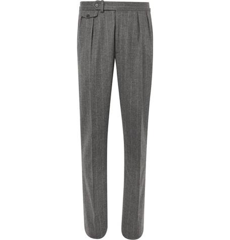 Ralph Lauren Purple Label - Grey Gregory Pleated Pinstriped Wool Suit Trousers - Men - Gray