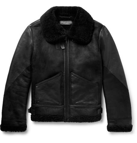 Ralph Lauren Purple Label Shearling Jacket Men Black The