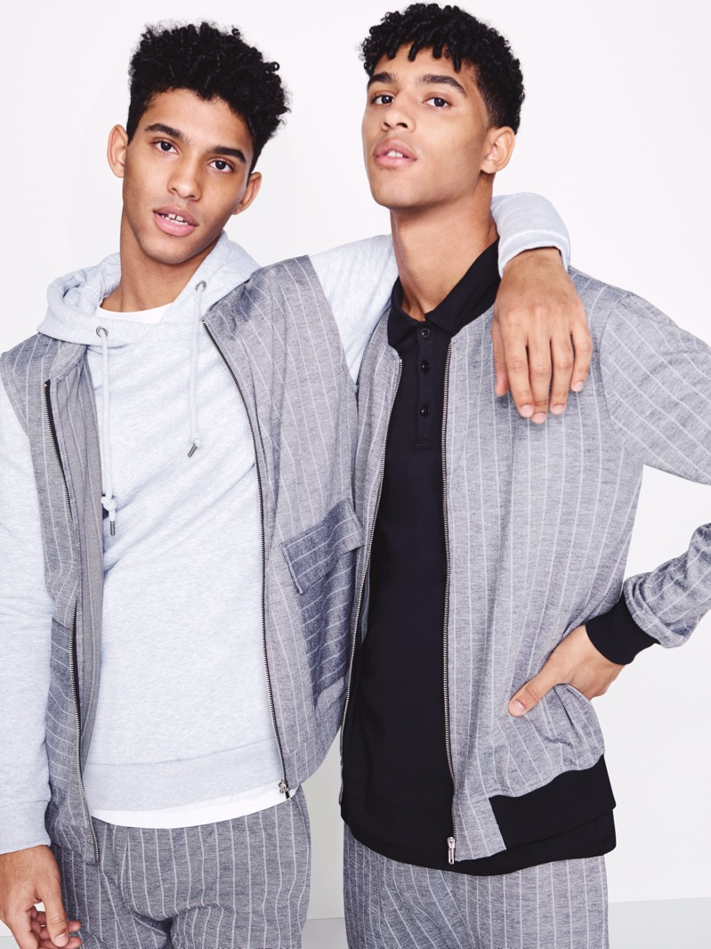 Brothers Jan Carlos and Hector Diaz sport grey pinstriped numbers from River Island.