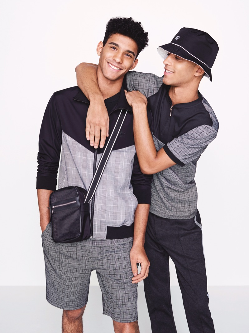 Models Jan Carlos and Hector Diaz wears sporty looks from River Island's spring 2019 collection.