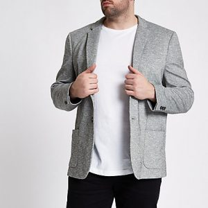 River Island Mens Big and Tall light grey space dye blazer