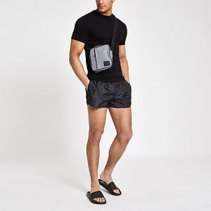 River Island Mens Black RI monogram print swim trunks