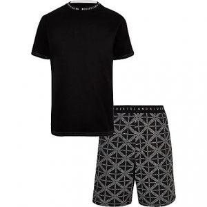 River Island Mens Black 'RI' print pajama shorts set