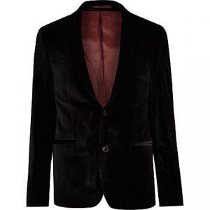 River Island Mens Black skinny fit velvet long sleeve blazer