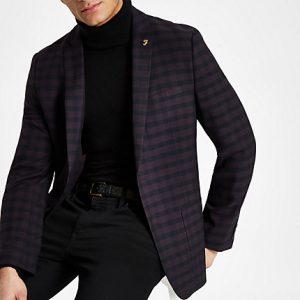 River Island Mens Farah burgundy check skinny fit blazer