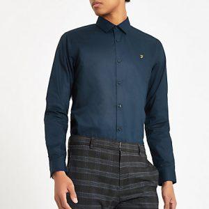 River Island Mens Farah navy button down shirt