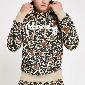 River Island Mens Money Clothing light brown camo hoodie