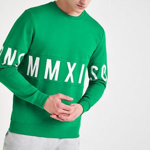 River Island Mens Only and Sons green printed sweatshirt