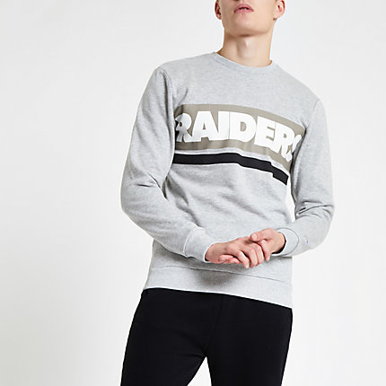 River Island Mens Only and Sons grey NFL 'Raiders' sweatshirt