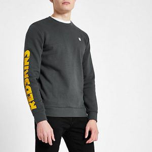 River Island Mens Only and Sons grey NFL 'Redskins' sweatshirt