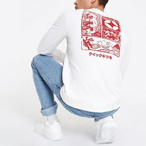 River Island Mens Only and Sons white printed sweatshirt