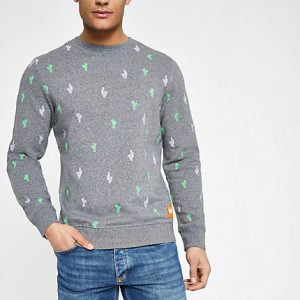 River Island Mens Superdry grey crew neck sweatshirt